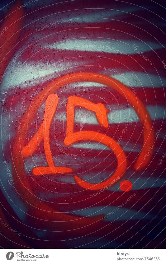 15. Zeichen Ziffern & Zahlen Graffiti leuchten authentisch einzigartig positiv trashig grau rot Mittelpunkt Schwerpunkt Tradition Jugendkultur Farbfoto