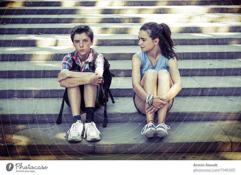 Treppenrast Mensch Ferien & Urlaub & Reisen Jugendliche Junge Frau Junger Mann Gefühle feminin Lifestyle Familie & Verwandtschaft Zusammensein Tourismus