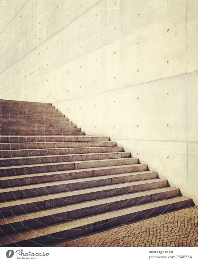 pure vernunft darf niemals siegen. Sonne Bauwerk Gebäude Architektur Mauer Wand Treppe Fassade Beton Backstein Linie Coolness kalt modern Stadt Wärme braun