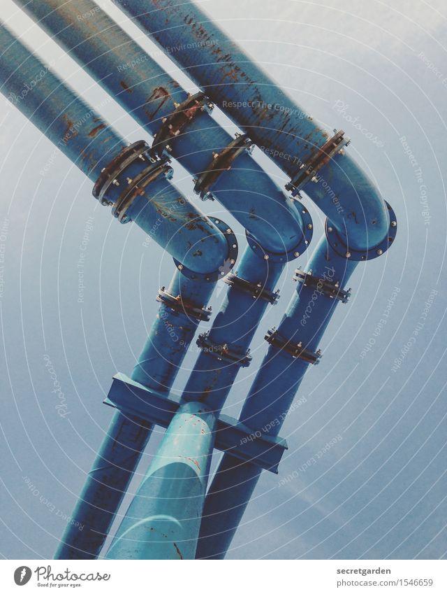 rechtzeitig die biege machen! Baustelle Energiewirtschaft Wolkenloser Himmel Schönes Wetter Berlin Hauptstadt Industrieanlage Fabrik Stahl Linie eckig