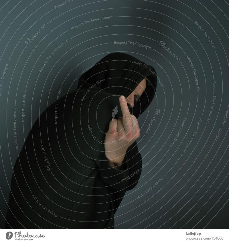 buenos dias messias Mensch Mann Finger Wut Kot Pullover Ärger Hass Kapuze Klischee Ghetto Mittelfinger Stinkefinger
