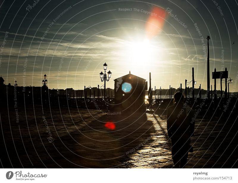 guten morgen Venedig Morgen Morgendämmerung Kontrast Sonne Licht Gegenlicht blenden Schatten hell dunkel historisch Verkehrswege Italien