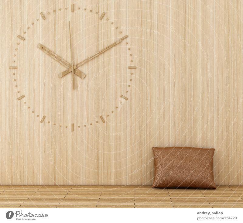 Holz braun Raum Haut Design modern retro Uhr Innenarchitektur Kissen Termin & Datum klassisch Chrom Mehl