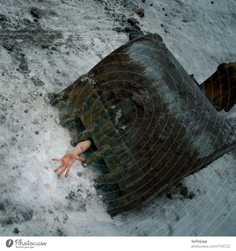 anbaggern Bagger Schaufel Hand Krallen Baustelle gefährlich Arbeitsunfall Schnee Mensch Körperteile Tod Eisen Zähne Handwerk bedrohlich Wunde