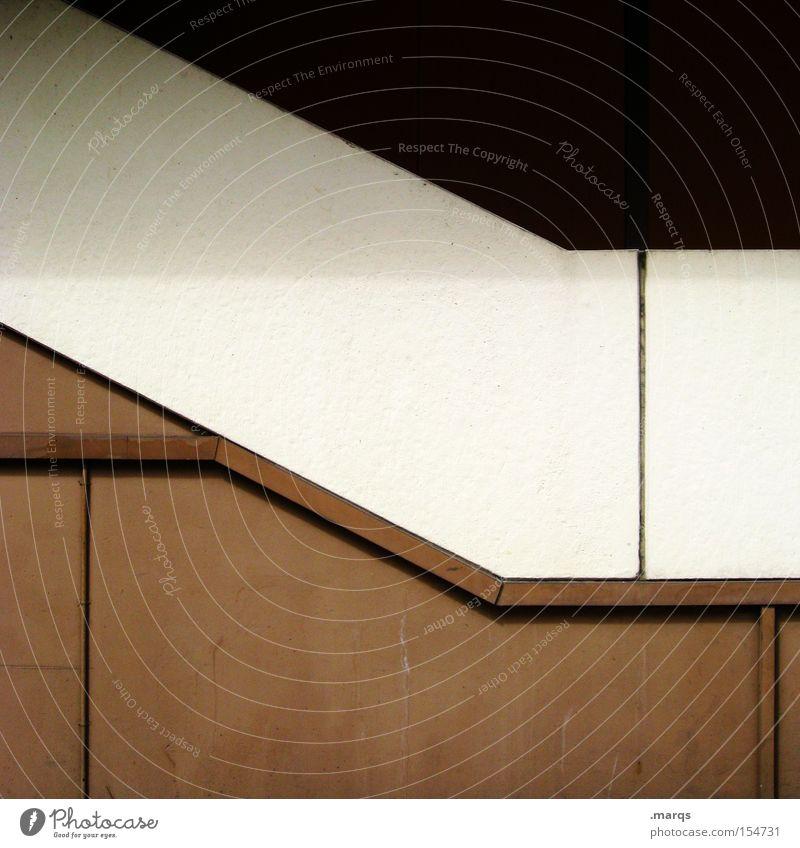 Trisection weiß Haus schwarz Wand Linie braun Architektur Design Fassade Treppe Streifen außergewöhnlich obskur Eingang Grafik u. Illustration eckig