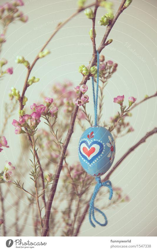 Ostern von Herzen hängen Osterei selbstgemacht Dekoration & Verzierung bemalt Schnur blau bayerisch zart retro Blume rot Farbfoto Innenaufnahme Menschenleer Tag