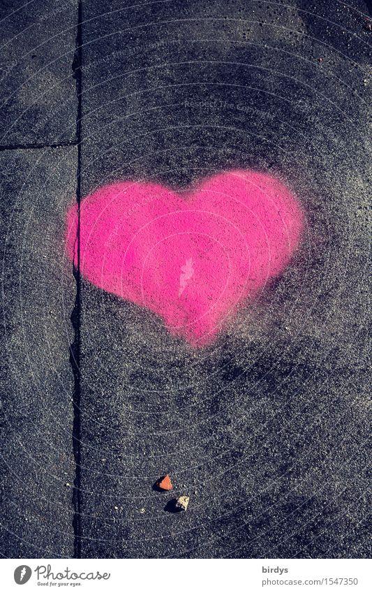 es muß Liebe sein Zeichen Herz leuchten authentisch positiv grau rosa schwarz Frühlingsgefühle Verliebtheit ästhetisch Partnerschaft Glück Farbfoto