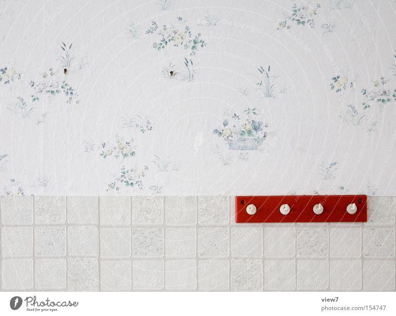 Garderobe alt rot Wand Holz Bekleidung Tapete obskur Möbel Kunststoff Reihe DDR Putz Örtlichkeit Haken Kleiderständer Ankleidezimmer