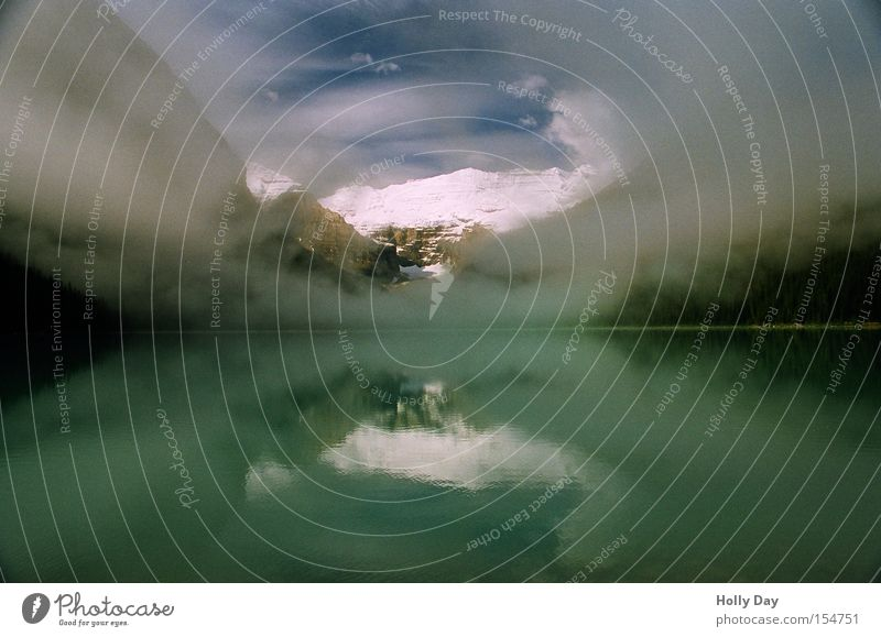 Ein bischen geht also doch Wasser Himmel Wolken Schnee Berge u. Gebirge See Nebel Kanada Gipfel Schleier Nationalpark Alberta Rocky Mountains