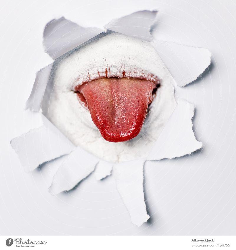 insert coin Mann rot Humor Mund Kommunizieren Loch obskur Zunge gestikulieren Geschmackssinn Öffnung Durchbruch Fetzen Spott
