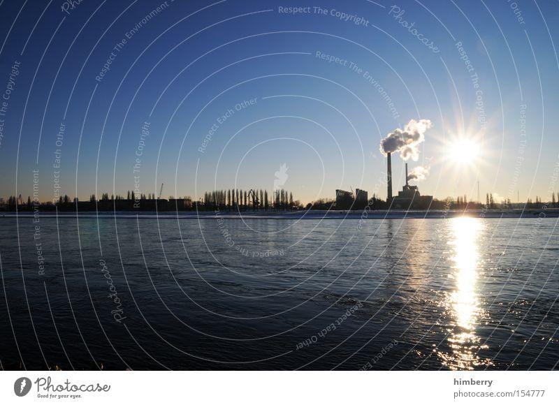 stromlieferanten Elektrizität Stromkraftwerke Fluss Rhein Kohlendioxid Rauch Schornstein Düsseldorf Industrie Skyline Blauer Himmel Klarer Himmel