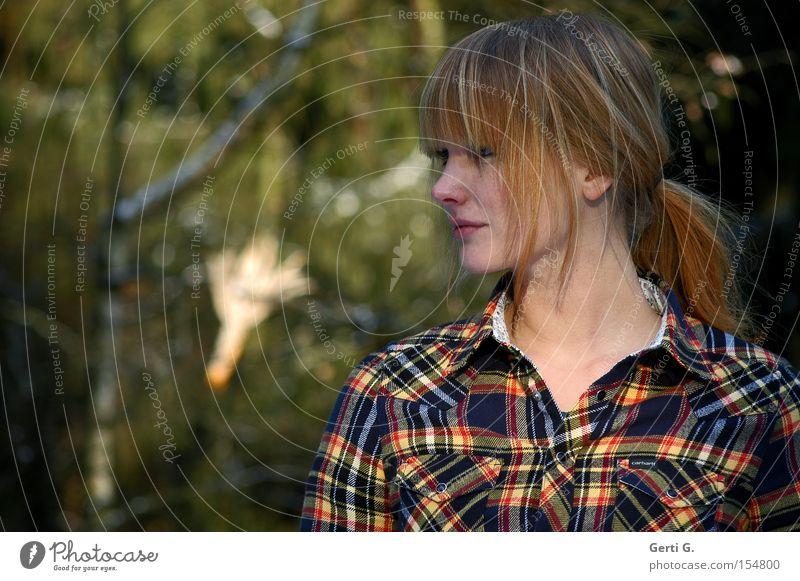 corncob Frau Baum Wald Gefühle Kommunizieren Hemd kariert Zopf Maiskolben
