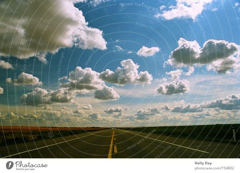 Himmelsstraße Sommer Ferne geradeaus Horizont Kanada Unendlichkeit Perspektive Alberta Verkehr Straße Wege & Pfade Autobahn frei Wolken Verkehrswege