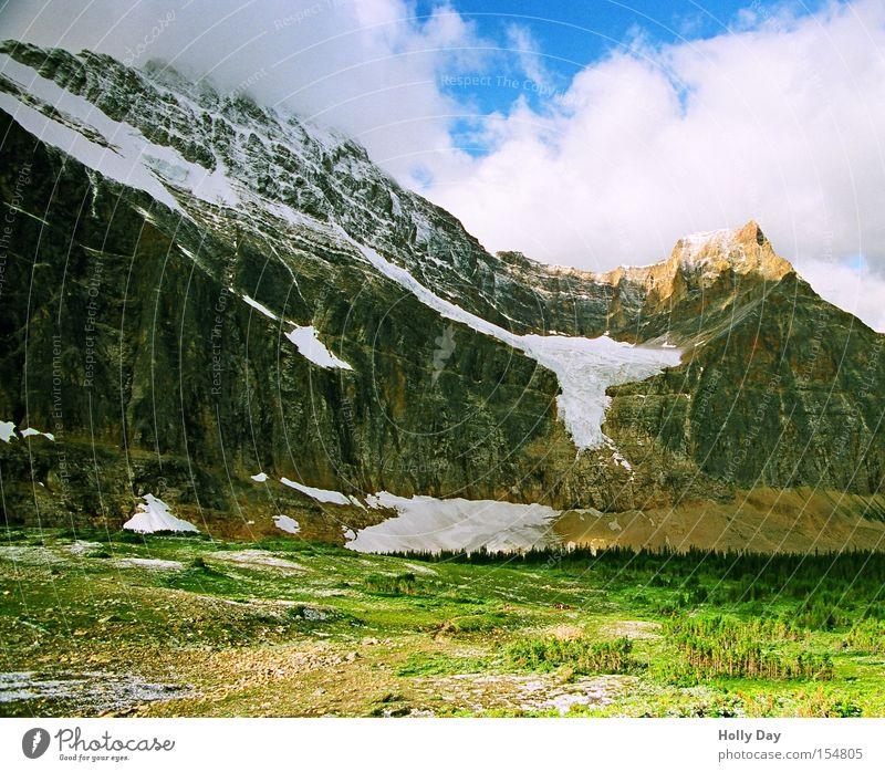 Halber Engel Gletscher Berge u. Gebirge Gipfel Schatten hoch Wolken Wiese Wald Ferne groß Himmel Kanada Schnee Eis