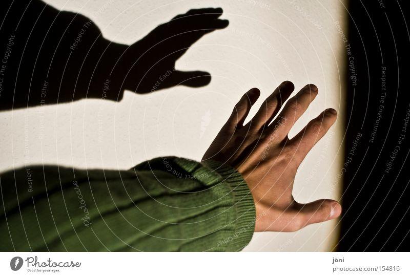 Zum Greifen nahe Schatten Hand Licht Suche berühren parallel Pullover Finger schlafen Schattenspiel Angst Panik Gefühle Frieden Scheinwerfer fangen