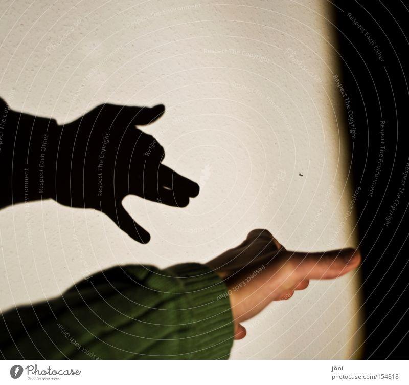 Schattenfreund Hand Hund Freude Tier Spielen Finger Spiegel Theaterschauspiel parallel Kino Pullover Scheinwerfer Fantasygeschichte Wolf Schattenspiel