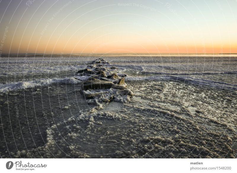 Eisgang Natur Landschaft Wasser Himmel Wolkenloser Himmel Horizont Sonnenaufgang Sonnenuntergang Winter Klima Wetter Schönes Wetter Frost Schnee Wellen Küste