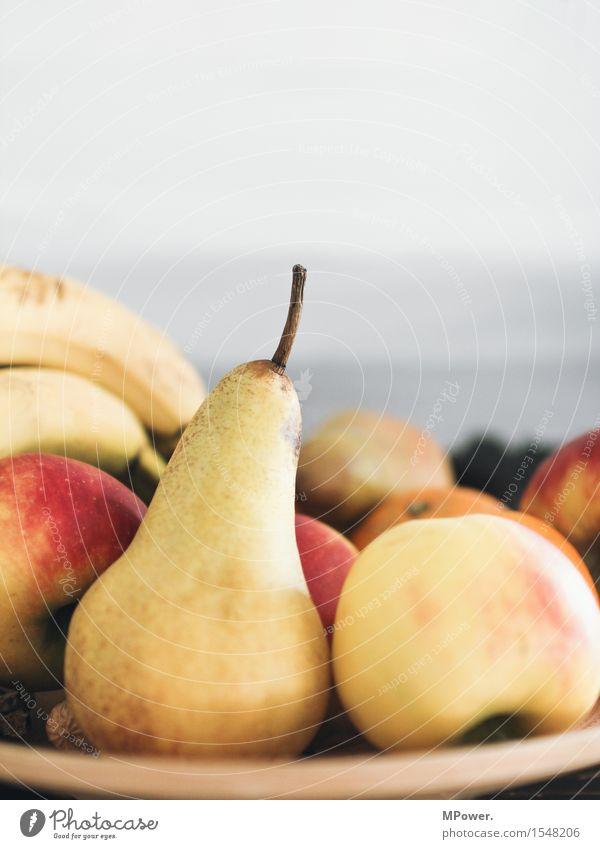 birnen und äpfel Gesundheit Lebensmittel Frucht frisch Ernährung süß lecker gut Bioprodukte Frühstück Apfel Teller Vegetarische Ernährung Diät Fasten Banane