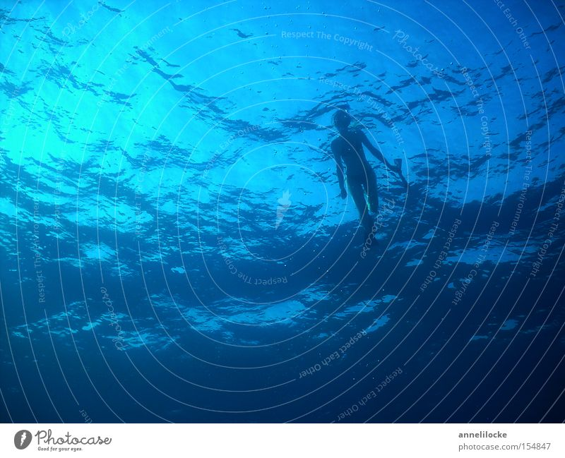 aus der tiefe des meeres Frau Wasser schön Meer Sommer Ferien & Urlaub & Reisen Wellen tauchen Schwimmen & Baden tief Schwimmhilfe Wassersport Taucher Mittelmeer Schnorcheln