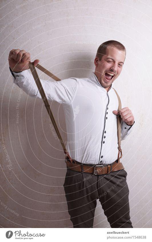 young man with suspenders Lifestyle Stil Freude Mensch maskulin Junger Mann Jugendliche Erwachsene 1 18-30 Jahre Mode Hemd Hose kurzhaarig Bart lachen
