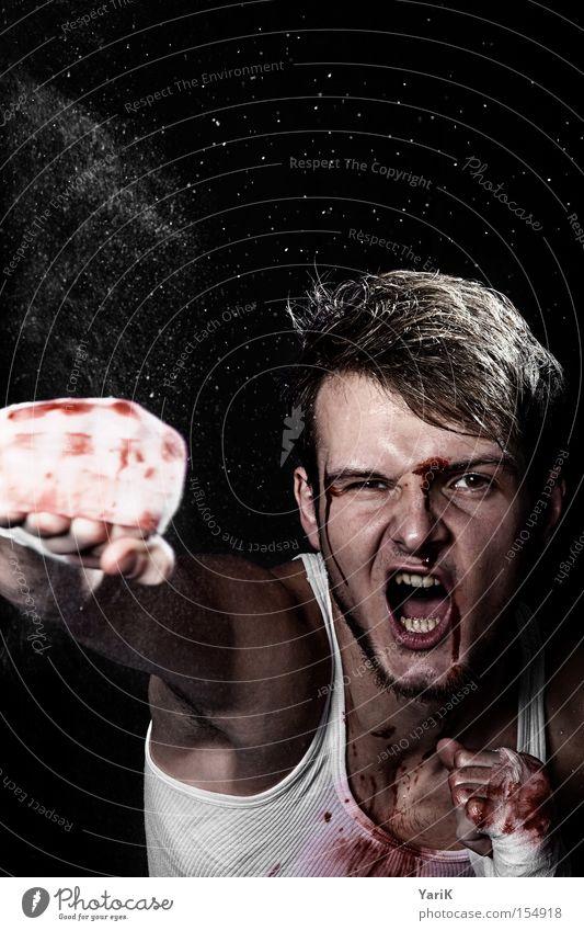 ansage Gesicht sprechen Kraft schreien Mensch Hand Blut kämpfen hart Schlag Fleck Faust Kampfsport Boxsport Schweiß