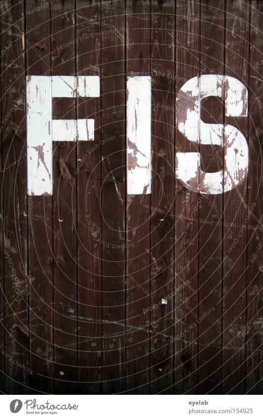 FIS moll Holz Wand Kratzer Schliere Holzwand Buchstaben Typographie Wort Detailaufnahme Schriftzeichen Kommunizieren zerkratzen silbe weiß braun alt gebraucht