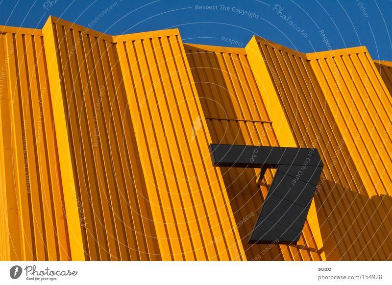 Verflixte 7 Lifestyle Stil Design Glück Architektur Metall Ziffern & Zahlen Linie Streifen eckig einfach schön einzigartig verrückt blau orange schwarz