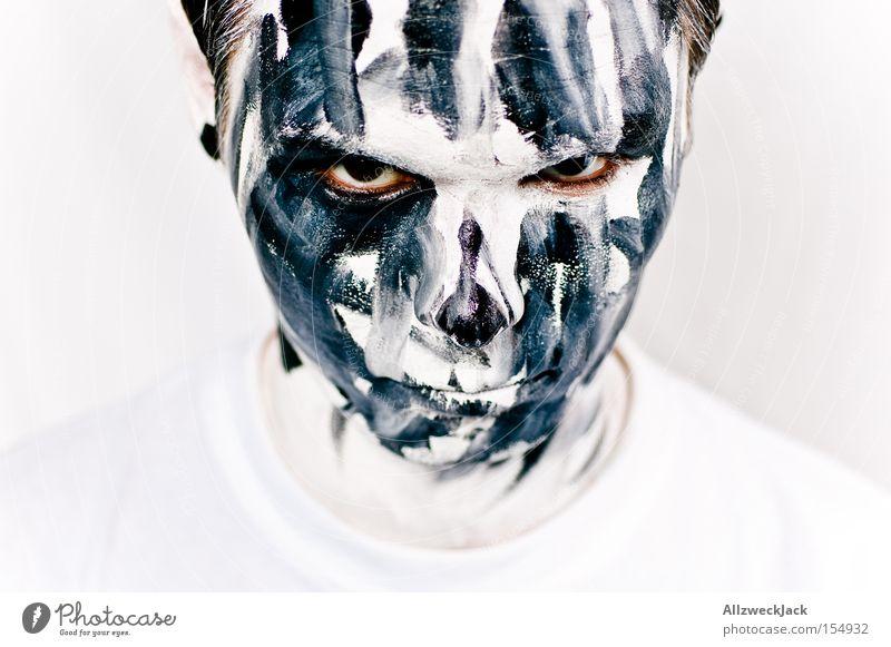 Schmutzfink Mann Gesicht dreckig Karneval gruselig Wut Theaterschauspiel Schminke böse Clown Ärger Halloween Artist verkleiden Schminken Zebra