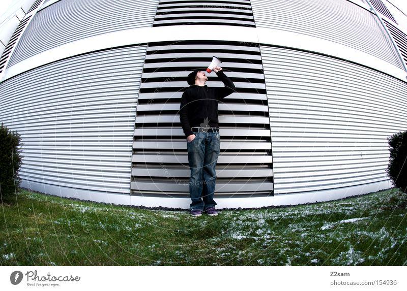 HALLO!? Mensch grün Winter Wiese sprechen Architektur Stil Metall Körperhaltung schreien Futurismus standhaft Megaphon