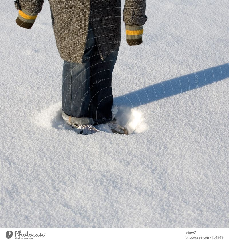 Im Schnee stehen Freude Winter Schuhe Kreis rund Stoff Ring Oberfläche Schneeflocke
