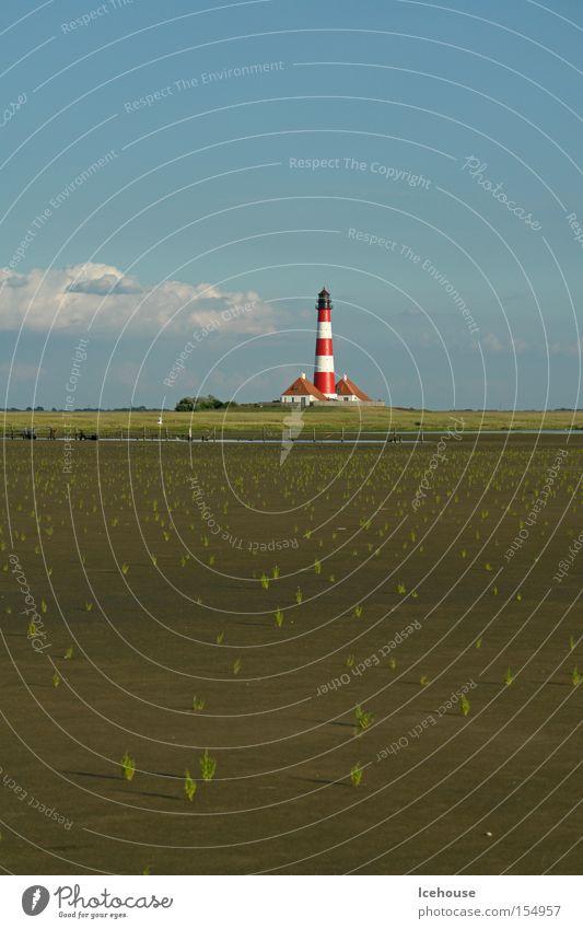 Leuchtturm Westerhever Himmel Meer Wolken Ferne Ostfriesland Denkmal Wahrzeichen Nordsee Wattenmeer Schlick Jever