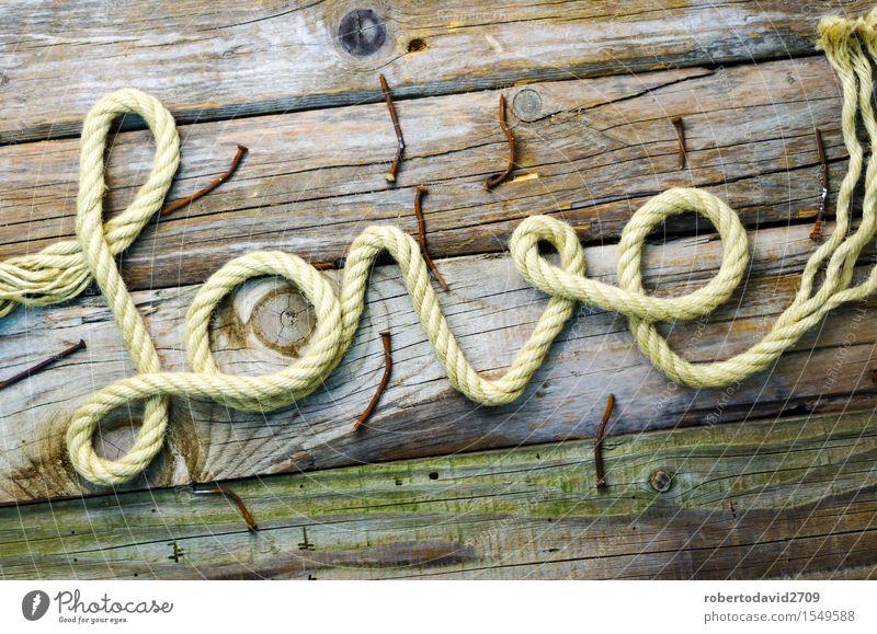 Geschriebenes Textdatum mit Seil auf altem Holz Glück schön Feste & Feiern Hochzeit Paar Krawatte Herz Linie Schnur Liebe lang natürlich retro weiß Gefühle