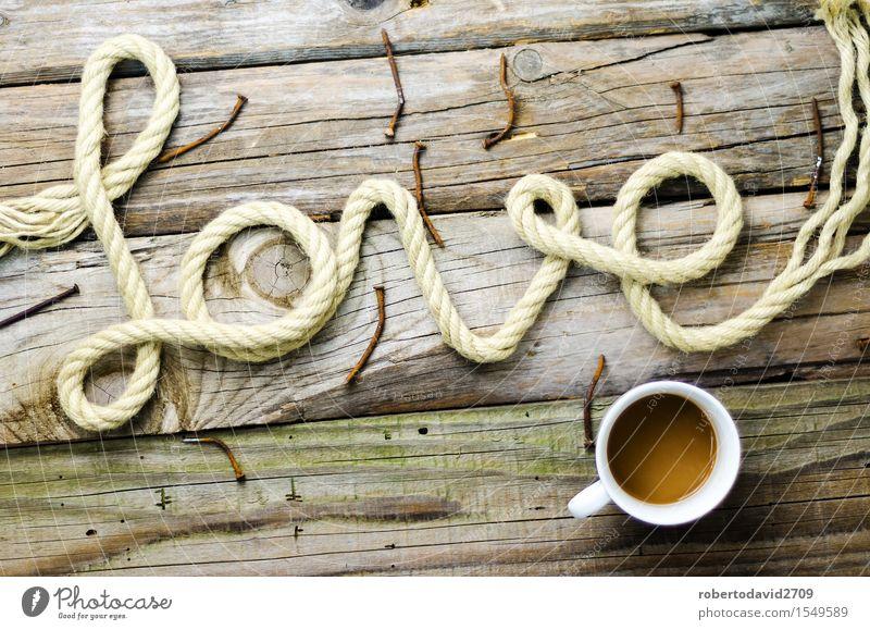 Geschriebenes Textdatum mit Seil auf altem Holz schön weiß Liebe Gefühle natürlich Glück Feste & Feiern Paar Linie Kreativität Herz retro Romantik Schnur