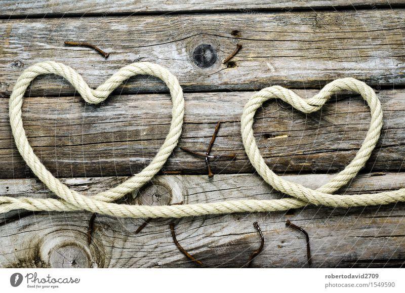 Herz aus Seil auf dem alten Brett Glück schön Feste & Feiern Hochzeit Paar Krawatte Linie Schnur Liebe lang natürlich retro weiß Gefühle Romantik Kreativität
