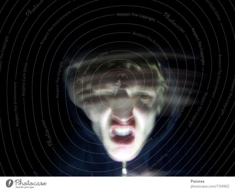 Geisteskrank dunkel Langzeitbelichtung Schwindelgefühl gruselig Geister u. Gespenster Kopf schütteln Gesicht erleuchten schwarz Zähne Schizophrenie Angst Panik