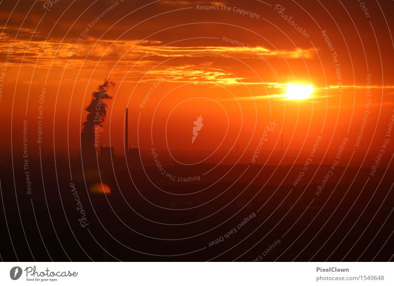 Halde Haniel Ferien & Urlaub & Reisen Umwelt Stimmung Horizont orange träumen Energiewirtschaft Industrie Wirtschaft Arbeitsplatz Energiekrise Kohlekraftwerk