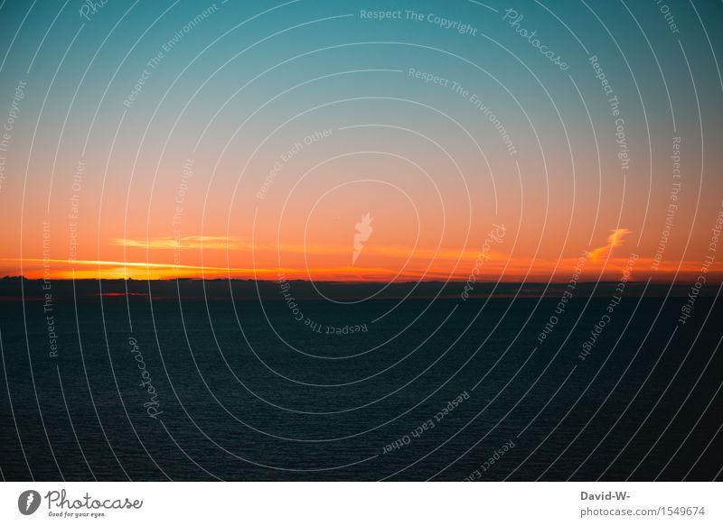 Der Tag neigt sich dem Ende zu Himmel Natur Ferien & Urlaub & Reisen Sommer Wasser Sonne Meer rot Ferne Freiheit Stimmung Horizont Tourismus Wetter Wellen Ausflug