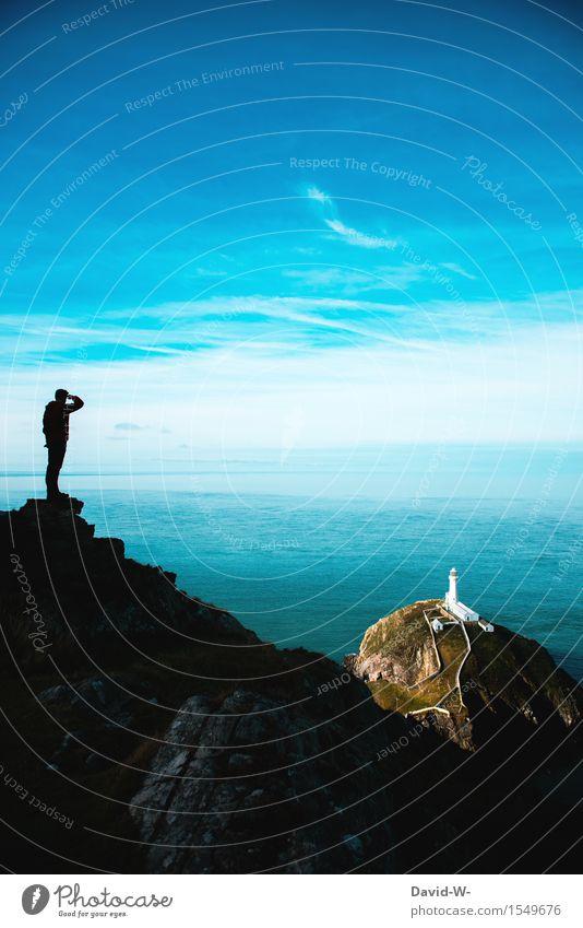 erkunden Mensch Natur Ferien & Urlaub & Reisen Jugendliche Mann Sommer Wasser Meer Junger Mann Landschaft Ferne Erwachsene Leben Küste Freiheit maskulin