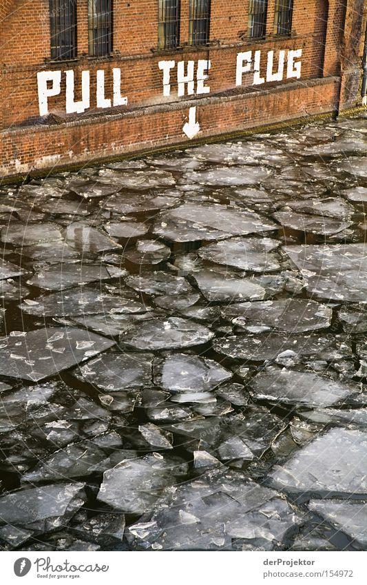 Mein lieber Scholli Wasser Winter kalt Berlin Wand Eis Brücke Grundbesitz Text Spree Redewendung