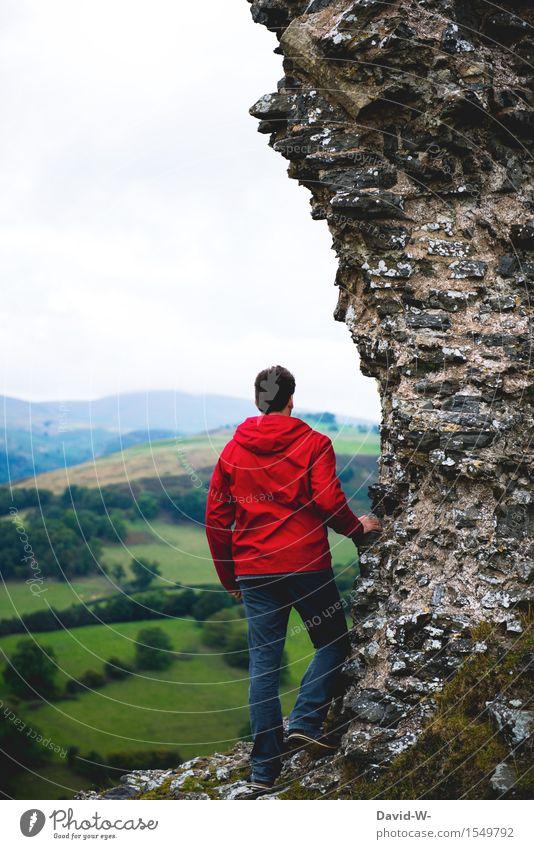 In die Ferne Blicken Mensch Natur Ferien & Urlaub & Reisen Jugendliche Mann Junger Mann Landschaft rot Erwachsene Umwelt Wand Leben Herbst Frühling Mauer