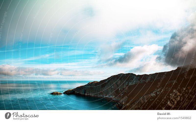 Panorama Himmel Natur Ferien & Urlaub & Reisen schön Sommer Wasser Sonne Meer Landschaft Wolken Ferne Berge u. Gebirge Umwelt Herbst Küste Freiheit