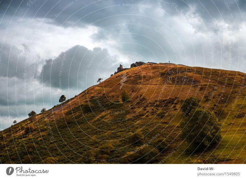 Wer findet den Fotografen? Mensch Natur Ferien & Urlaub & Reisen Mann schön Landschaft Wolken Ferne Berge u. Gebirge Erwachsene gelb Leben oben maskulin