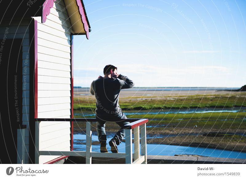 irgendwo im nirgendwo Mensch Ferien & Urlaub & Reisen Jugendliche Mann Sommer Sonne Junger Mann Erholung Einsamkeit ruhig Ferne 18-30 Jahre Erwachsene Leben