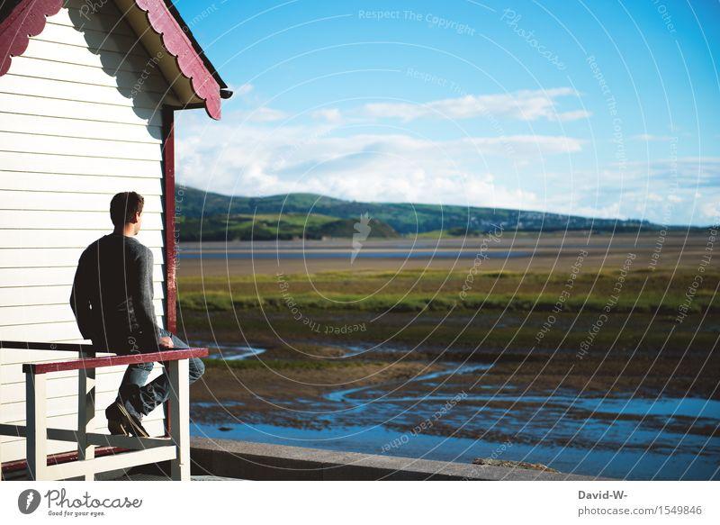 Zeit zum nachdenken Mensch Ferien & Urlaub & Reisen Jugendliche Mann Junger Mann Einsamkeit ruhig Erwachsene Umwelt Leben maskulin träumen Zufriedenheit