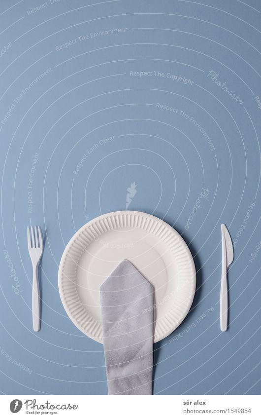 Remix   Business-Lunch Ernährung Essen Abendessen Besteck Teller Pappteller Arbeit & Erwerbstätigkeit Beruf Kapitalwirtschaft Börse Gastronomie Krawatte blau