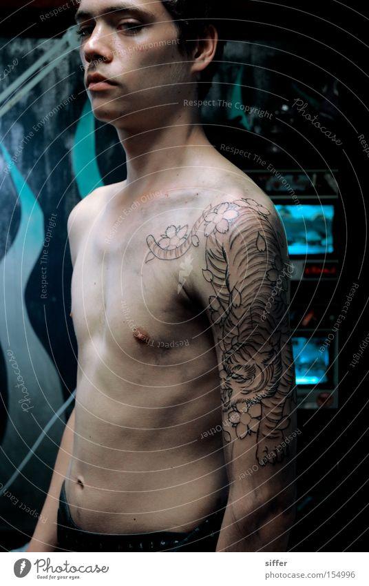 lieblingsmensch Tiger Oberkörper Jugendliche Coolness Kunst Kunsthandwerk Tattoo Punk Ein junger erwachsener Mann 1 Mensch einzeln Männeroberkörper Nackte Haut