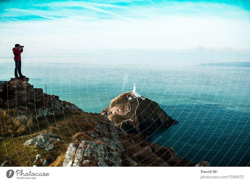 Das wird das perfekte Urlaubsfoto Mensch Natur Ferien & Urlaub & Reisen Jugendliche Mann schön Meer Junger Mann Landschaft Ferne Erwachsene Umwelt Leben