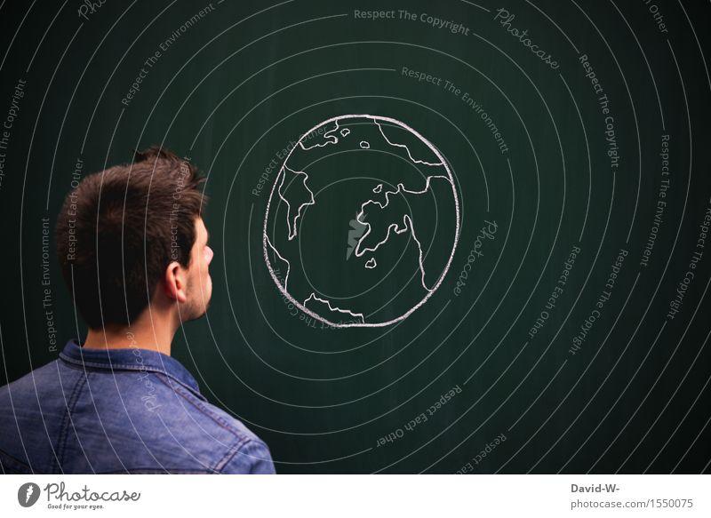 Was ist nur mit der Welt los Mensch Jugendliche Mann Junger Mann Erwachsene Umwelt Leben Kunst Erde maskulin Angst Zukunft Klima beobachten Kultur Trauer