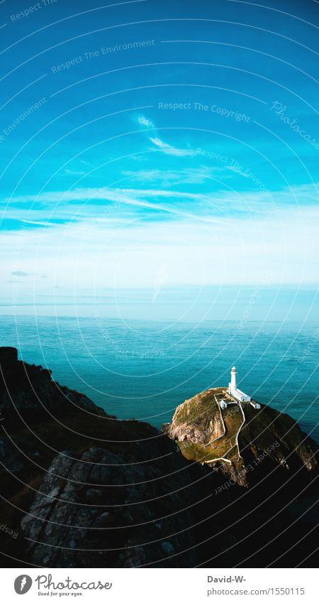 Walisische Küste Himmel Natur blau schön Sommer Wasser Meer Landschaft Wolken Ferne Umwelt Herbst Frühling Wege & Pfade Felsen