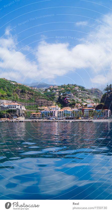 Blau Natur Landschaft Urelemente Wasser Himmel Wolken Sonne Sommer Schönes Wetter Hügel Berge u. Gebirge Küste Meer Atlantik Insel Madeira Ponta do Sol Portugal
